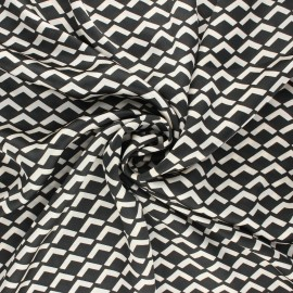 Print polyester satin fabric - black Géoma x 10cm