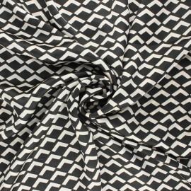 Tissu satin polyester Géoma - noir x 10cm