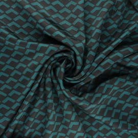 Print polyester satin fabric - green Géoma x 10cm
