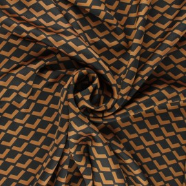 Print polyester satin fabric - camel Géoma x 10cm