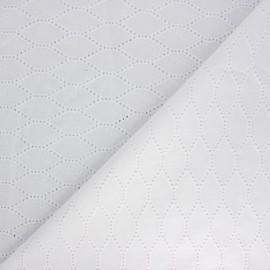 Openwork cotton voile fabric - white Octave x 10cm