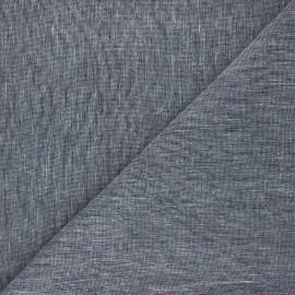 Tissu chambray lin - bleu nuit x 10cm