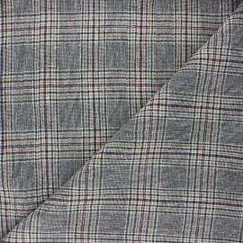 Checked linen chambray fabric - black Dundee x 10cm