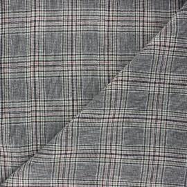Tissu chambray lin carreaux Dundee - noir x 10cm