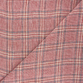 Checked linen chambray fabric - red Dundee x 10cm