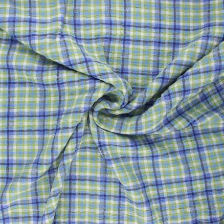 Tissu viscose gaufré Roslin - bleu x 10cm
