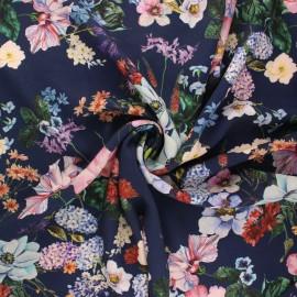 Viscose fabric - navy blue Bouquet d'été x 10cm