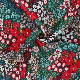 Viscose fabric - green Flowery field x 10cm