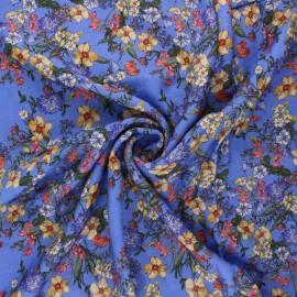 Viscose fabric - blue Champ printanier x 10cm