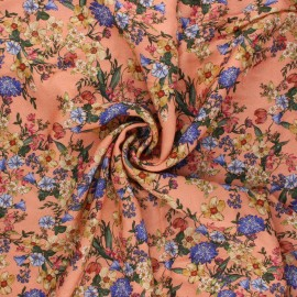Viscose fabric - peach Champ printanier x 10cm