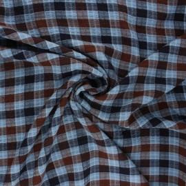 Tissu rayonne gaufré Aileen - bleu x 10cm