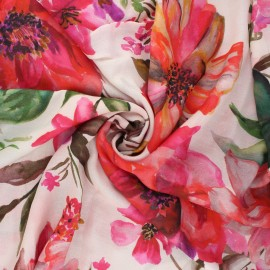 Viscose fabric - raw Summer flower x 10cm
