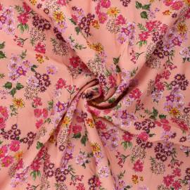 Twill viscose fabric - coral Primavera flower x 10cm