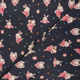 Poppy jersey fabric - dark grey Ballet stars x 10cm