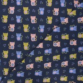 Poppy jersey fabric - night blue Sweet cat x 10cm