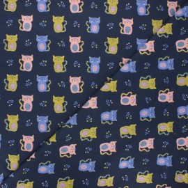 Tissu jersey Poppy Sweet cat - bleu nuit x 10cm