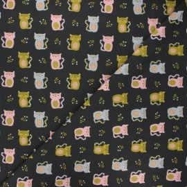 Poppy jersey fabric - dark grey Sweet cat x 10cm