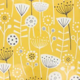 Tissu coton enduit Fryett's fleurs - jaune moutarde x 10cm