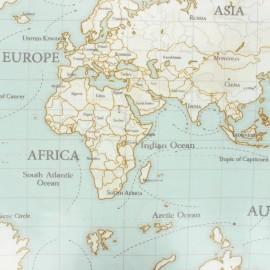 Tissu coton enduit Fryett's maps - bleu x 10cm