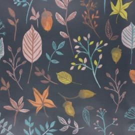 Fryett's Coated cotton fabric - blueberry Feuillage x 10cm