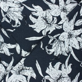 Tissu lin viscose Lily flower - bleu nuit x 10 cm