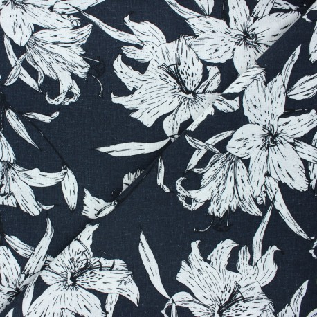 Linen and viscose fabric - night blue Lily flower x 10 cm