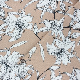 Tissu lin viscose Lily flower - sable x 10 cm
