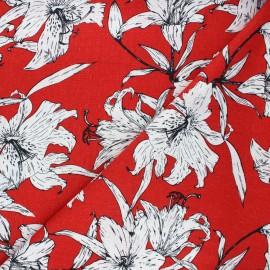 Tissu lin viscose Lily flower - rouge x 10 cm