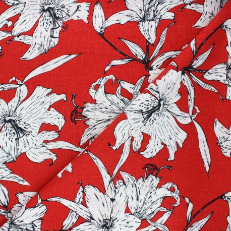 Linen and viscose fabric - red Lily flower x 10 cm