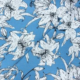Tissu lin viscose Lily flower - bleu houle x 10 cm