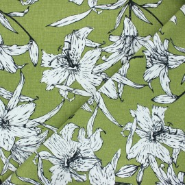 Linen and viscose fabric - green Lily flower x 10 cm