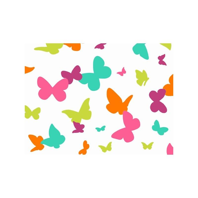 tissus pas cher tissu enduit coton papillons multicolor. Black Bedroom Furniture Sets. Home Design Ideas