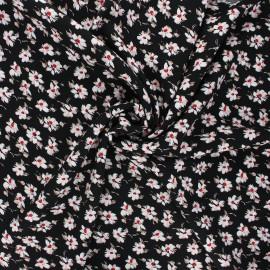 Viscose fabric - black Anémone sylvestre x 10cm