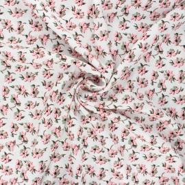 Viscose fabric - white Anémone sylvestre x 10cm