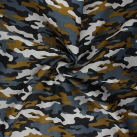 Poppy poplin cotton fabric - mouse grey Army camouflage x 10cm