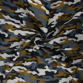 Tissu coton popeline Poppy Army camouflage - gris souris x 10cm