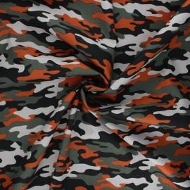 Poppy poplin cotton fabric - orange Army camouflage x 10cm