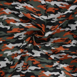 Tissu coton popeline Poppy Army camouflage - orange x 10cm