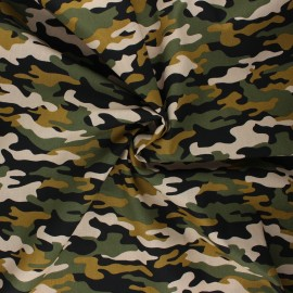 Tissu coton popeline Poppy Army camouflage - sable x 10cm