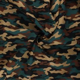 Poppy poplin cotton fabric - dark green Army camouflage x 10cm