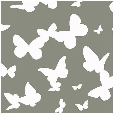 tissus pas cher tissu enduit coton papillons gris. Black Bedroom Furniture Sets. Home Design Ideas
