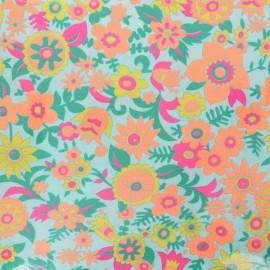 Tissu coton enduit Petit Pan Hippie - azur x 10cm