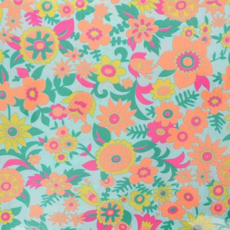 Petit Pan coated cotton fabric - azure Hippie x 10cm