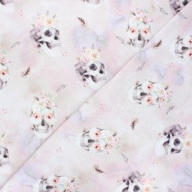 Poppy french terry fabric - pink Skulls & roses x 10cm