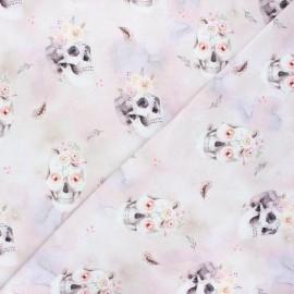 Tissu sweat léger Poppy Skulls & roses - rose x 10cm