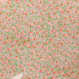 Petit Pan coated cotton fabric - pink Flower power x 10cm