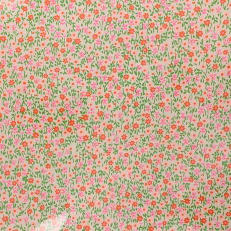 Petit Pan coated cotton fabric - pink Flower power x 10cm
