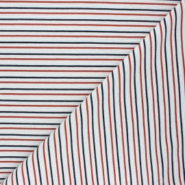 Ribbed knit fabric - white Sauzon x 10cm