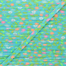 9mm Petit Pan bias binding - azure Peace and love x 1m