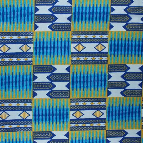 Glittery Wax print fabric - blue Kumasi x 10cm